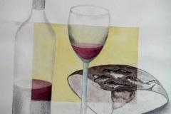 AQ7, 1997, Bleistift/Aquarell, 50x40 m.R., © Lore Weiler