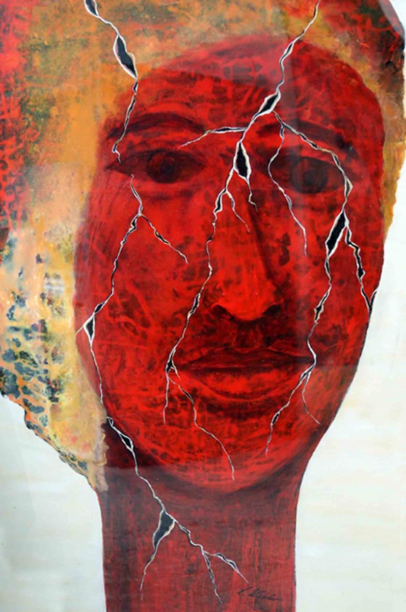 F7, 2008, A-K, 100x70, Die Maske fällt, es bleibt der Mensch und alles Heldentum entweicht. Jean Jacques Rousseau, © Lore Weiler