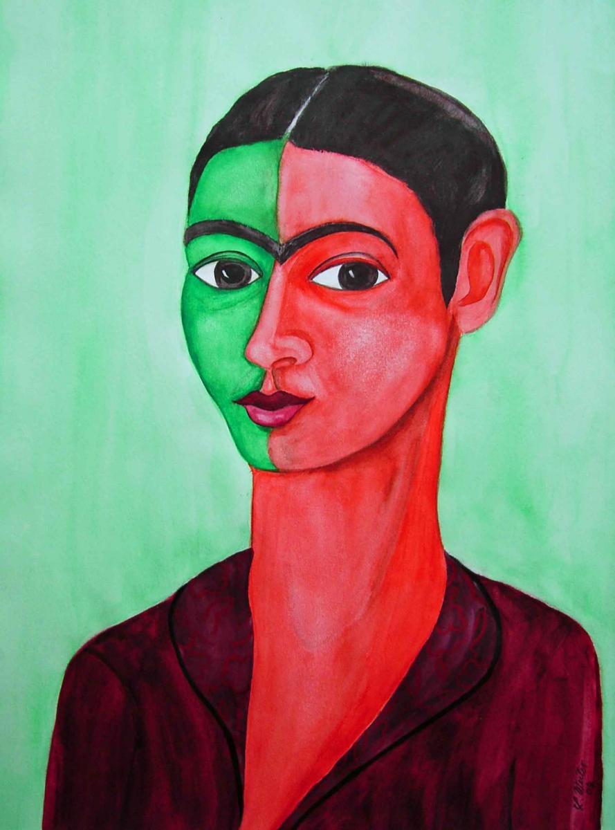 F5,  Frida Kahlo, 2004, Aquarell, 60x50, © Lore Weiler