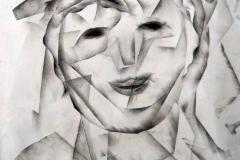 F10, Frau kubistisch, 2009,  Kohle auf Papier, 50x40 m.R., © Lore Weiler