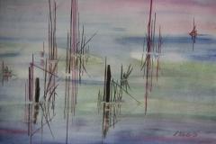 L11, Schilf im See abstrahiert, 2004, Aquarell, 60x70 m.R.,  © Lore Weiler