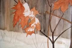 P15, Laub im Winter, 1995, Aquarell, 40x50 m.R., © Lore Weiler