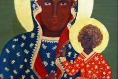 HG4, Schwarze Madonna von Tschenstochau, 1988, ÖL  mit Blattgold 23 Karat, 35x26, © Lore Weiler