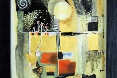HG7,  Abstrakt I, 1990, ÖL  mit Blattgold 23 Karat,35x26, © Lore Weiler